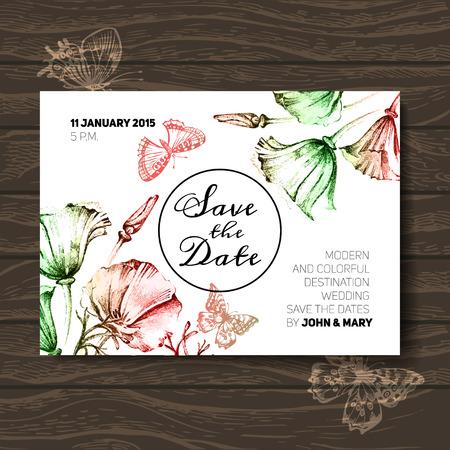 꽃과 빈티지 웨딩 초대장입니다. 날짜 디자인을 저장합니다. 손으로 그린 스케치 그림을 벡터 일러스트