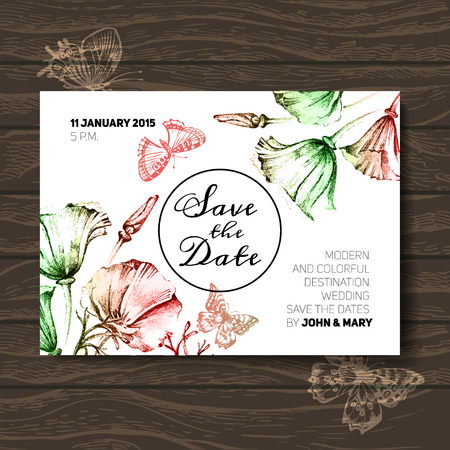 Vintage wedding invitation with flowers. Save the date design. Hand drawn sketch vector illustration Ilustrace
