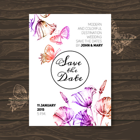 花のビンテージ結婚式招待状。日付のデザインを保存します。手描きスケッチ ベクトル イラスト