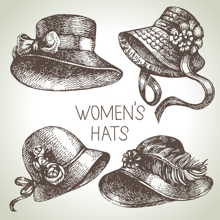 beautiful lady: Hand drawn elegant vintage ladies set. Sketch women hats. Retro fashion vector illustration
