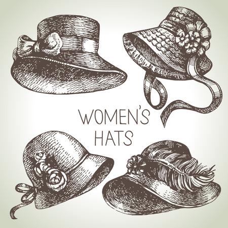 Hand drawn elegant vintage ladies set. Sketch women hats. Retro fashion vector illustration