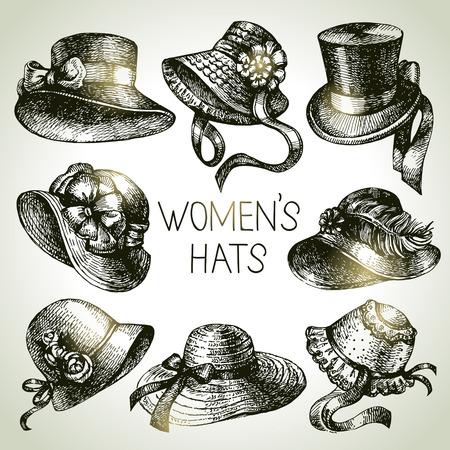 Disegnati a mano signore eleganti d'epoca insieme. Donne schizzo cappelli. Illustrazione vettoriale di moda Retro