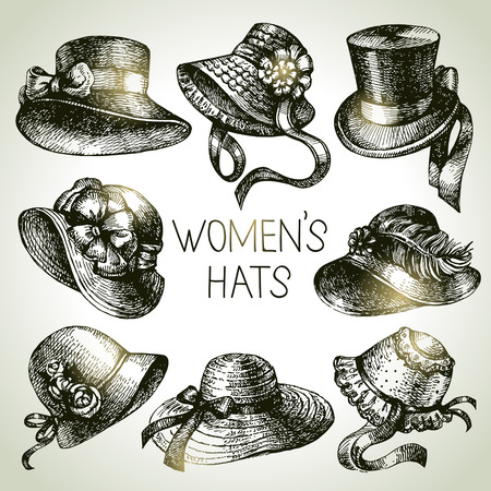 Hand getrokken elegante vintage dames ingesteld. Schets vrouwen hoeden. Retro mode vector illustratie