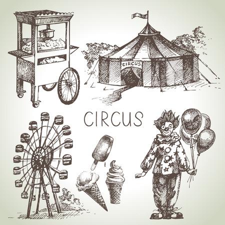 payaso: Mano de circo boceto dibujado y diversi�n ilustraciones de vectores. Iconos de la vendimia