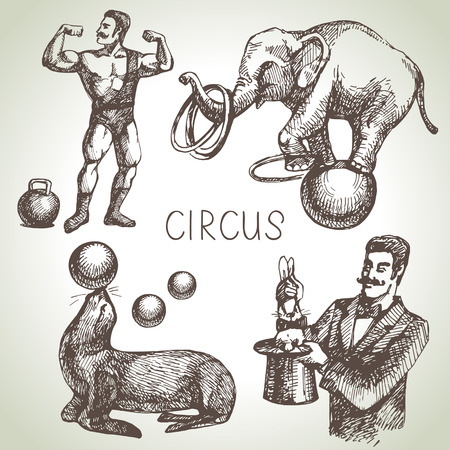 circus elephant: Hand drawn sketch circus and amusement vector illustrations. Vintage icons Illustration