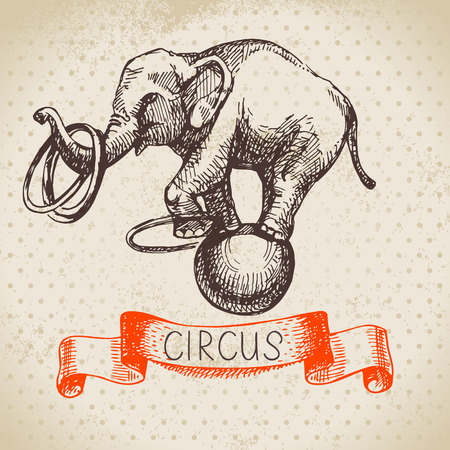 circus background: Hand drawn sketch circus and amusement vector illustration. Vintage background