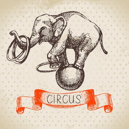 Hand gezeichnete Skizze Zirkus und Freizeit Vektor-Illustration. Vintage background Illustration