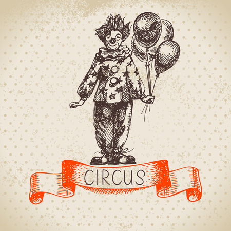 Hand drawn sketch circus and amusement vector illustration. Vintage background Vector