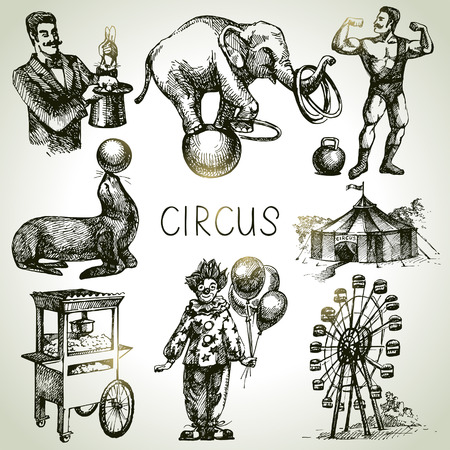 circus clown: Hand drawn sketch circus and amusement vector illustrations. Vintage icons Illustration