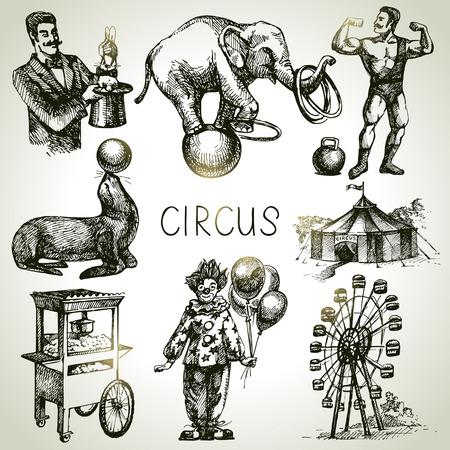 elefante: Mano de circo boceto dibujado y diversión ilustraciones de vectores. Iconos de la vendimia