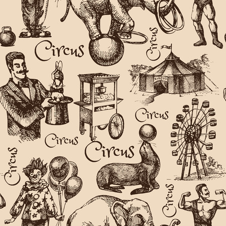 Hand drawn sketch circus and amusement vector illustration. Vintage seamless pattern
