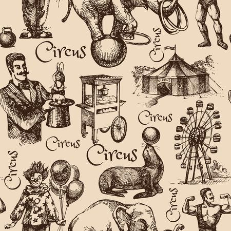 Hand gezeichnete Skizze Zirkus und Freizeit Vektor-Illustration. Jahrgang nahtlose Muster Standard-Bild - 36851376