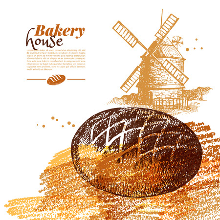 Bakery sketch background. Vintage hand drawn vector illustration Illustration