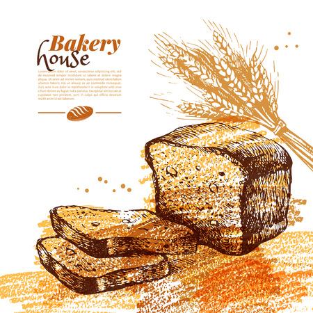 wheaten: Bakery sketch background. Vintage hand drawn vector illustration Illustration