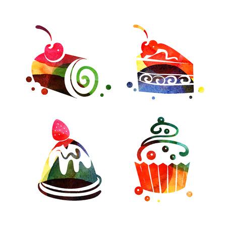 logotipos de restaurantes: Conjunto de acuarela dulces siluetas torta. Vector ilustración de la hora del té Vectores