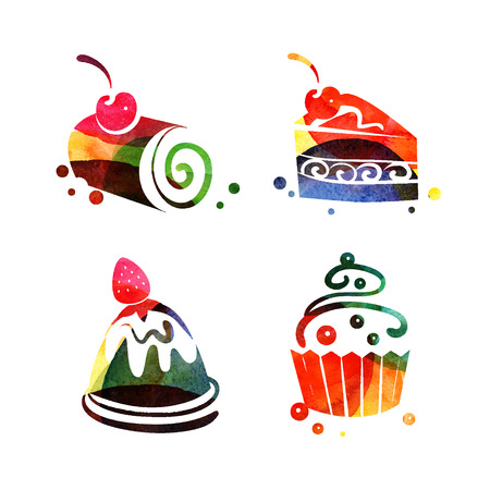Set of watercolor sweet cake silhouettes. Vector tea time illustration