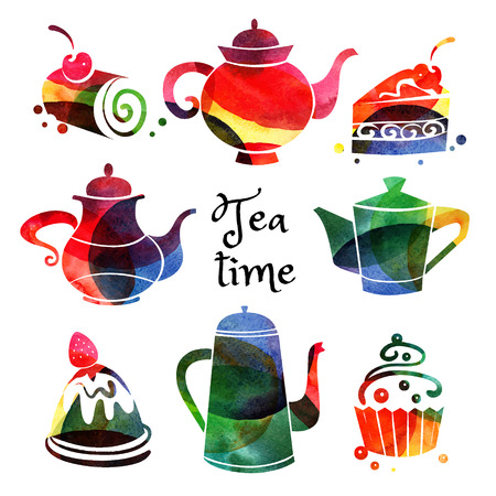 Set of watercolor teapot and sweet cake silhouettes. Vector tea time illustration