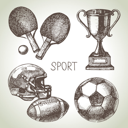 Hand drawn sports set. Sketch sport balls. Vector illustration  イラスト・ベクター素材