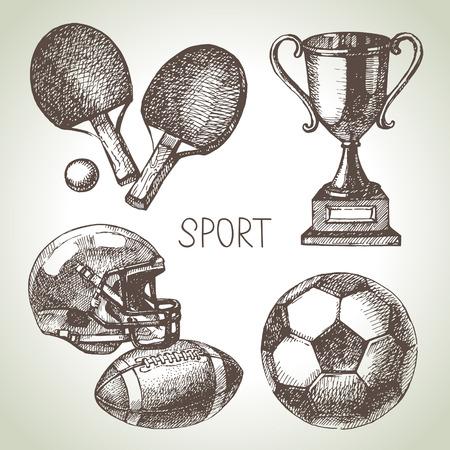 Hand drawn sports set. Sketch sport balls. Vector illustration Vectores