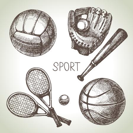 balon baloncesto: Dibujado a mano conjunto deportivo. Bolas del deporte boceto. Ilustración vectorial Vectores