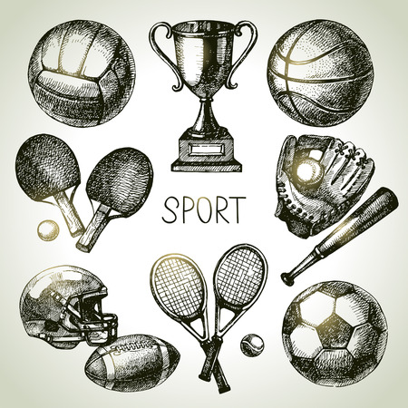 Hand drawn sports set. Sketch sport balls. Vector illustration Vettoriali