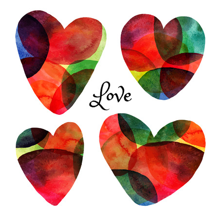 heart abstract: Set of watercolor hearts. Happy Valentine day icons Illustration