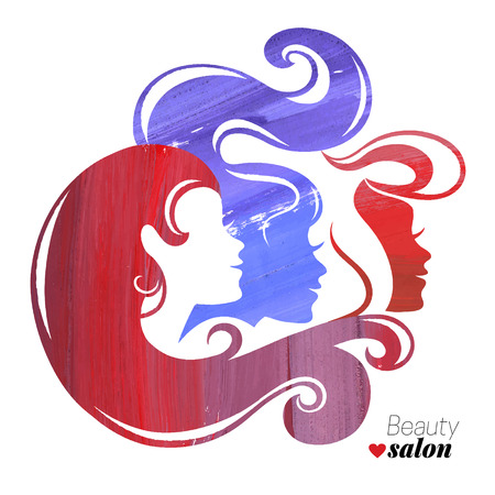 Watercolor beautiful girl silhouettes. Vector illustration of women