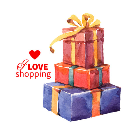 cajas navide�as: Caja de regalo de la pintura de la acuarela con el arco. Ilustraci�n vectorial Vectores