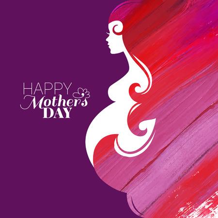 embarazada: Acuarela hermosa mujer embarazada. Pintura ilustraci�n vectorial