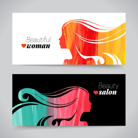 face  profile: Set of banners with acrylic beautiful girl silhouettes. Vector illustration of painting woman beauty salon design