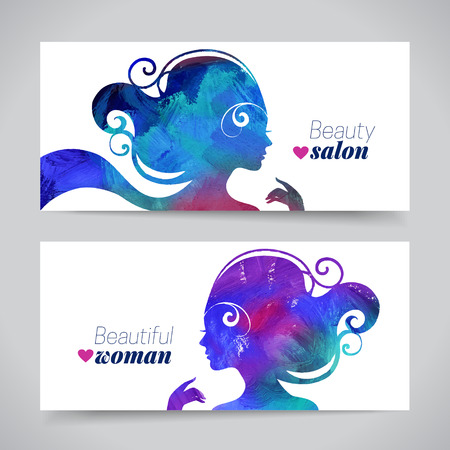 beautiful hair: Set of banners with acrylic beautiful girl silhouettes. Vector illustration of painting woman beauty salon design