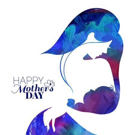 ni�os sanos: Silueta madre pintura de acr�lico con su beb�. Tarjeta de Feliz D�a de las Madres. Ilustraci�n del vector con hermosa mujer y ni�o