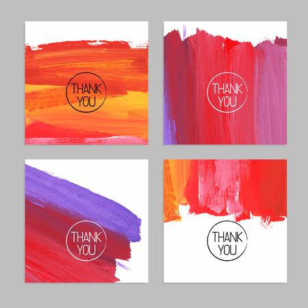 merci: Ensemble de milieux acryliques abstraites dessin�s � la main. Vector illustration. Merci cartes Illustration
