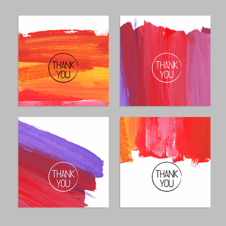 Set of abstract hand drawn acrylic backgrounds. Vector illustration. Thank you cards Çizim