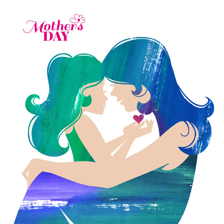 mother's: Acrylic painting mother silhouette with her daughter. Card of Happy Mothers Day. Vector illustration with beautiful woman and child