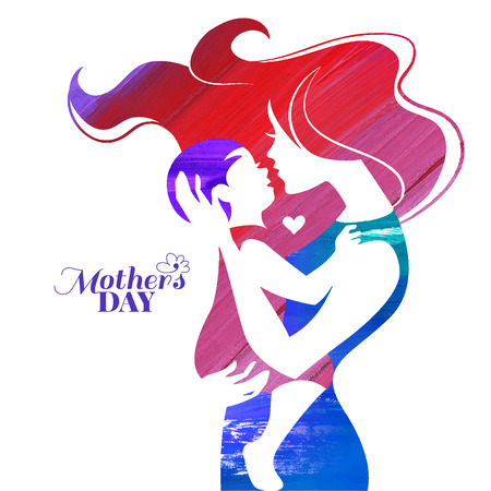 Acrylic painting mother silhouette with her baby. Card of Happy Mothers Day. Vector illustration with beautiful woman and child Ilustração