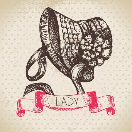 mode retro: Hand getrokken elegante vintage dames achtergrond. Schets vrouwen hoed. Retro mode vector illustratie Stock Illustratie
