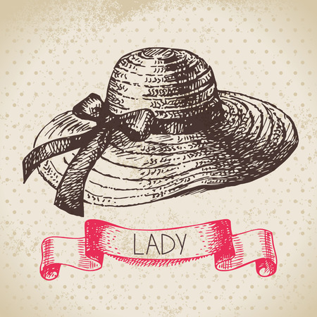 19th century style: Hand drawn elegant vintage ladies background. Sketch women hat. Retro fashion vector illustration Illustration