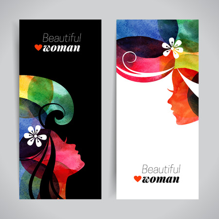 Set of banners with watercolor beautiful girl silhouettes. Vector illustration of woman beauty salon design 일러스트