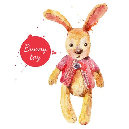 水彩画のウサギのおもちゃ。グリーティング カードのためのベクトル図