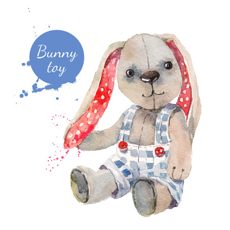 Acquerello coniglio giocattolo. Illustrazione per biglietto di auguri Archivio Fotografico - 36830987