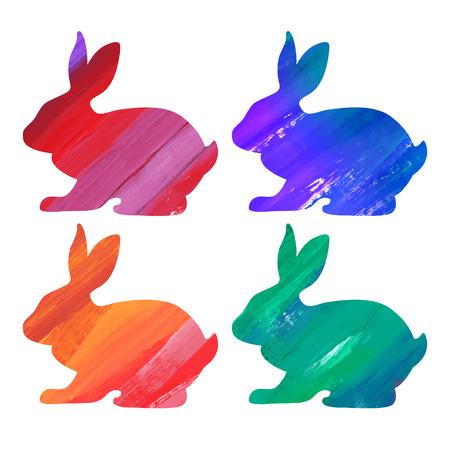 Ester kleur bunny stellen. Acryl vector illustratie