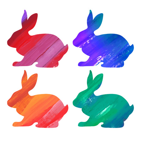 Ester color bunny set. Acrylic vector illustration Illustration