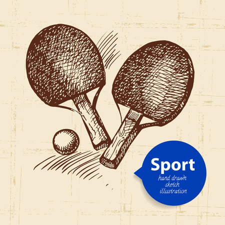 sport object: Hand drawn sport object. Sketch ping pong. Vector illustration