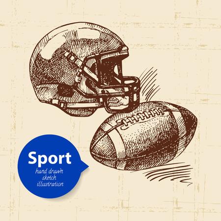 손으로 그려진 된 스포츠 개체입니다. 스케치 미국 축구 벡터 일러스트 레이션