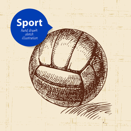 Hand drawn sport object. Sketch volleyball vector illustration Vector