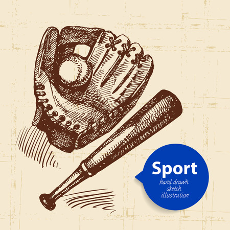 bat and ball: Hand drawn sport object. Sketch baseball vector illustration