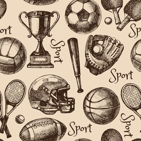 pelota de futbol: Dibujado a mano boceto deporte patr�n transparente con bolas. Ilustraci�n vectorial