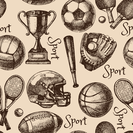 tennis ball: Hand drawn sketch sport seamless pattern with balls. Vector illustration