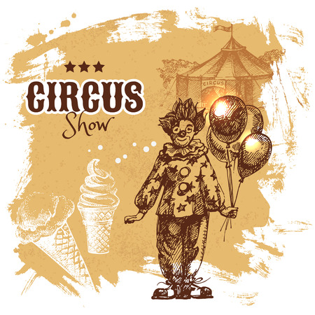 circus ticket: Hand drawn sketch circus and amusement vector illustration. Carnival vintage poster background